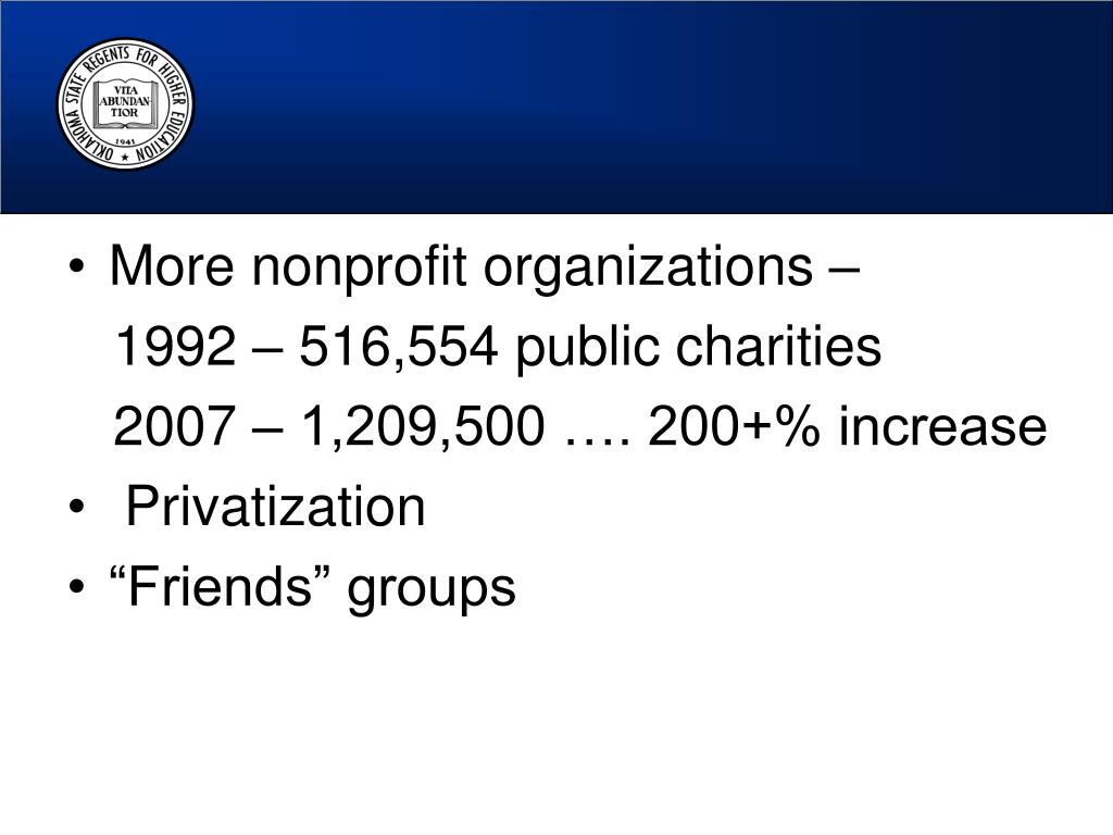 More nonprofit organizations –