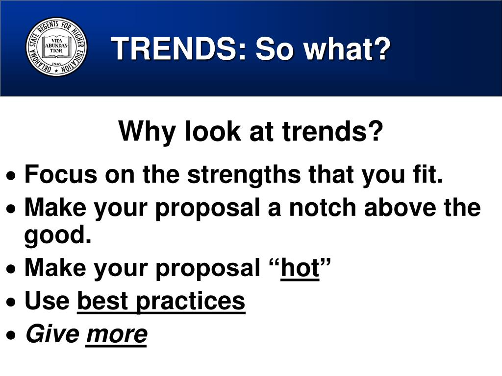 TRENDS: So what?