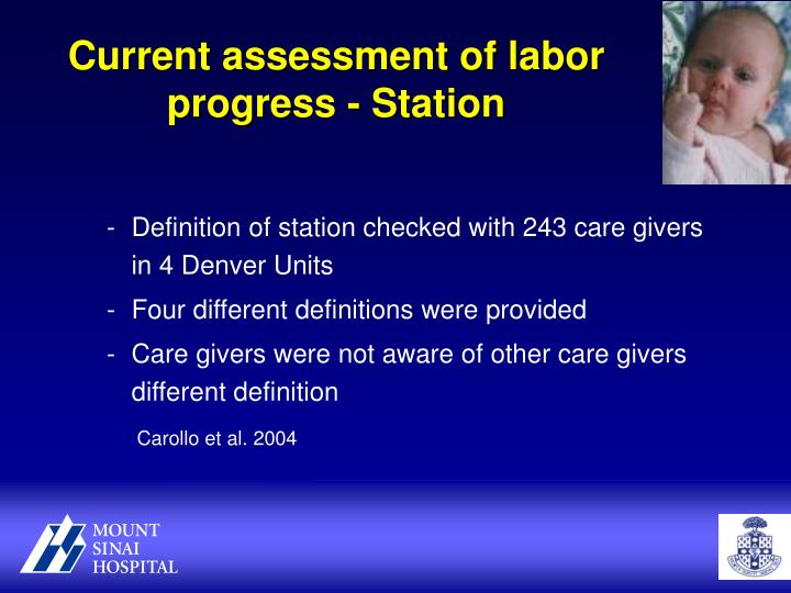 Current assessment of labor progress - Station