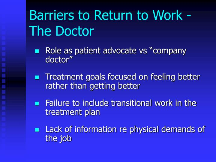 Barriers to Return to Work - The Doctor