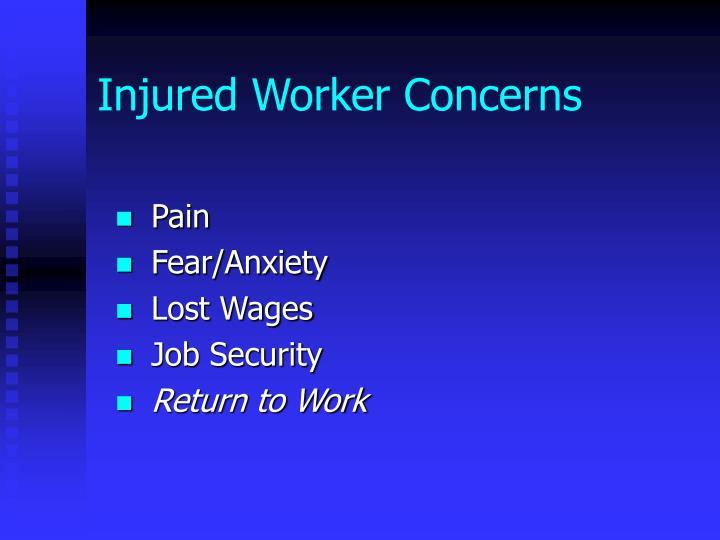 Injured Worker Concerns