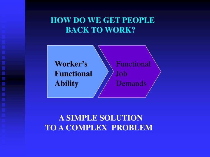 HOW DO WE GET PEOPLE             BACK TO WORK?