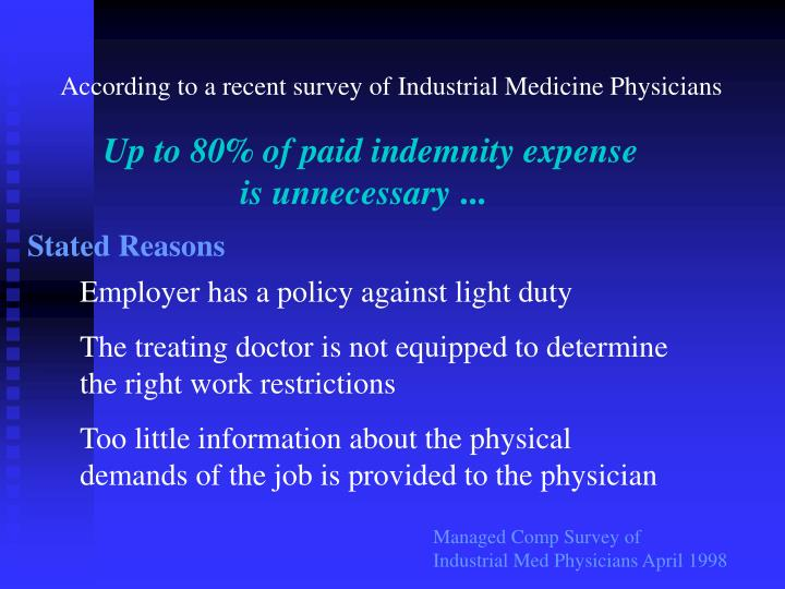 According to a recent survey of Industrial Medicine Physicians