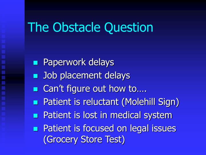 The Obstacle Question