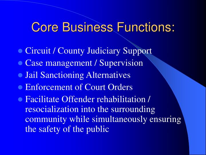 Core Business Functions: