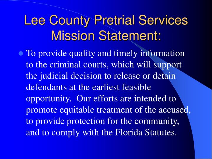 Lee county pretrial services mission statement