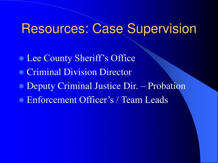 Resources: Case Supervision
