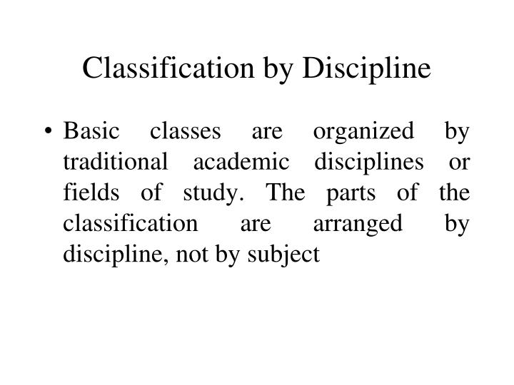 Classification by Discipline