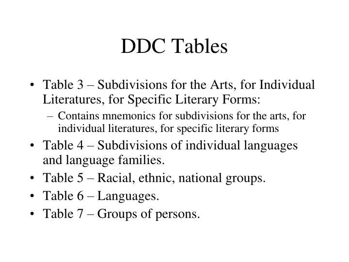 DDC Tables