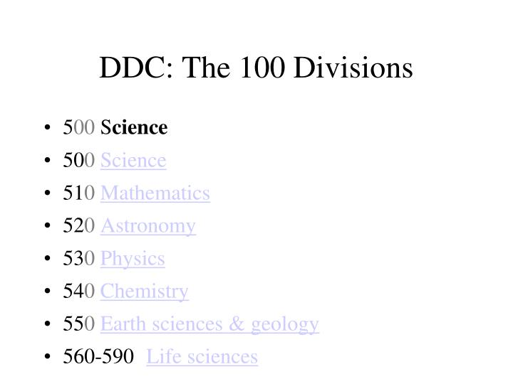 DDC: The 100 Divisions