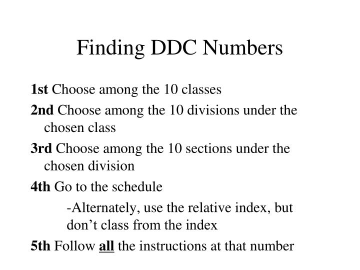 Finding DDC Numbers