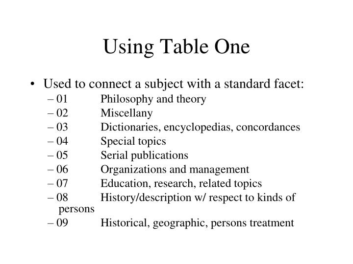 Using Table One