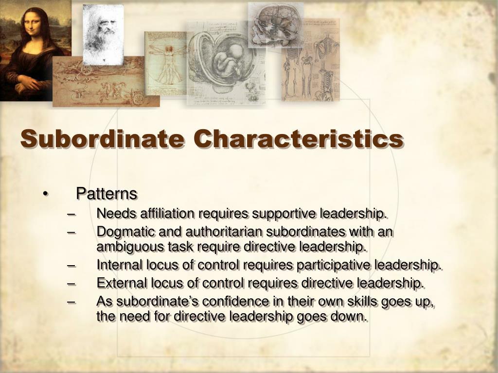 Subordinate Characteristics