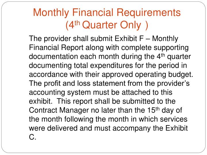 Monthly Financial Requirements