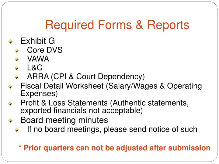 Required Forms & Reports