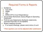 required forms reports