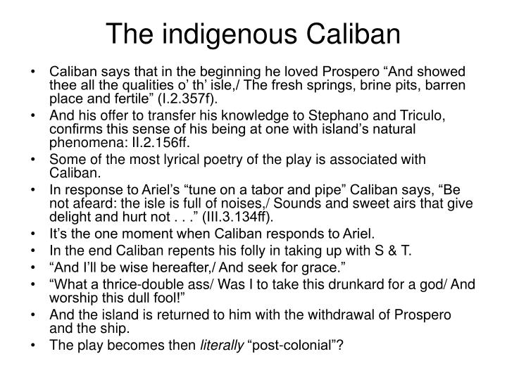 The indigenous Caliban
