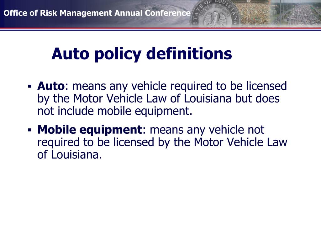 Auto policy definitions