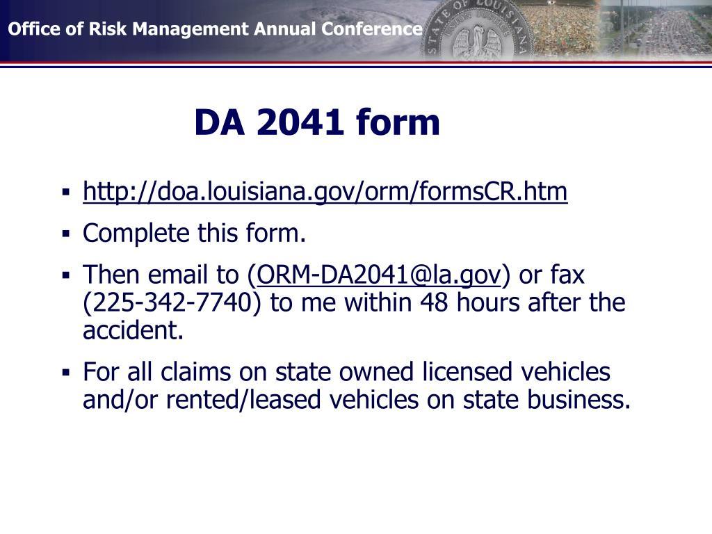 DA 2041 form