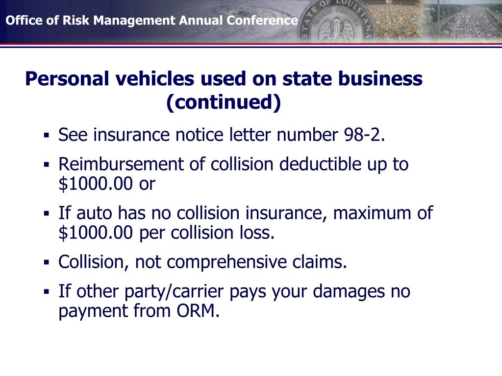 Personal vehicles used on state business  (continued)