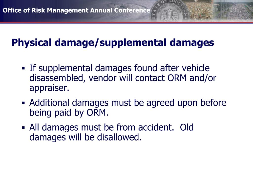 Physical damage/supplemental damages