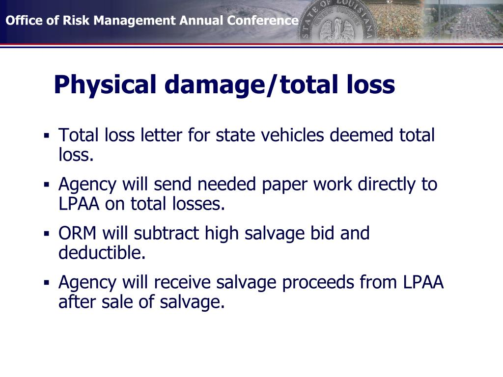 Physical damage/total loss