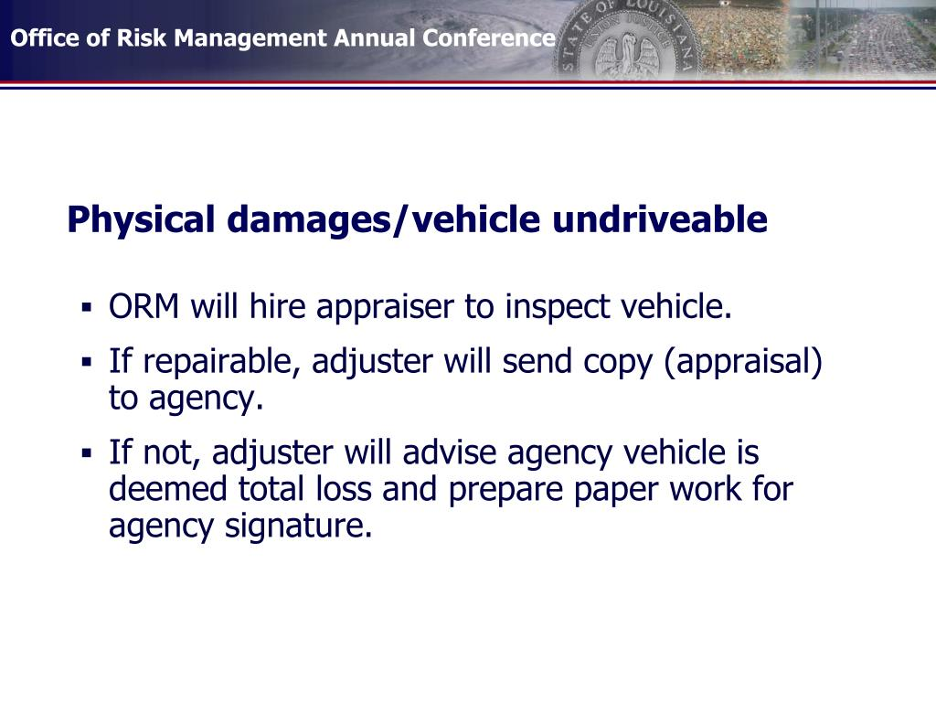 Physical damages/vehicle