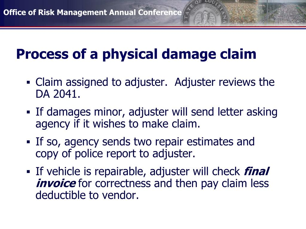 Process of a physical damage claim