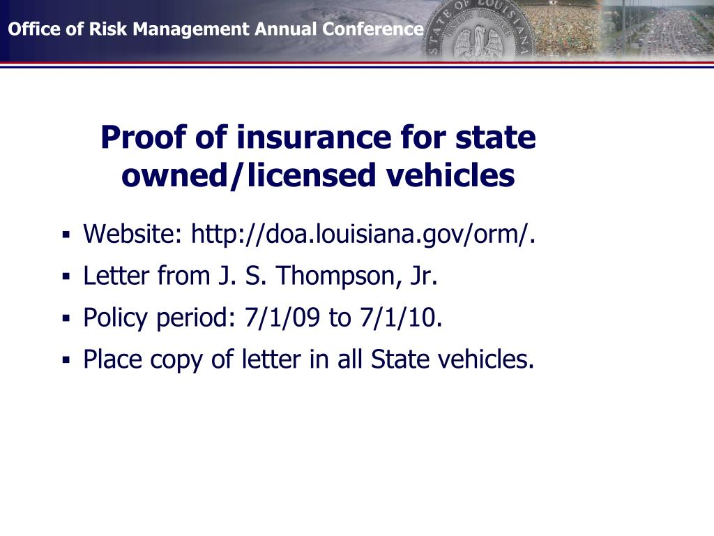 Proof of insurance for state owned/licensed vehicles