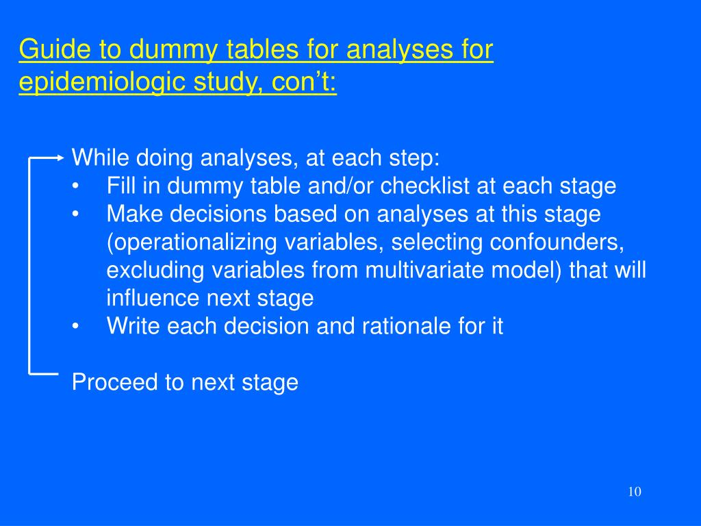 Guide to dummy tables for analyses for epidemiologic study, con't:
