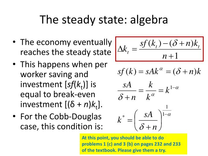 The steady state: algebra