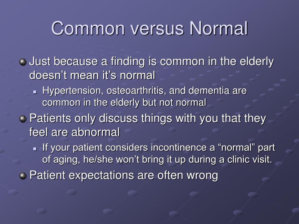 Common versus Normal