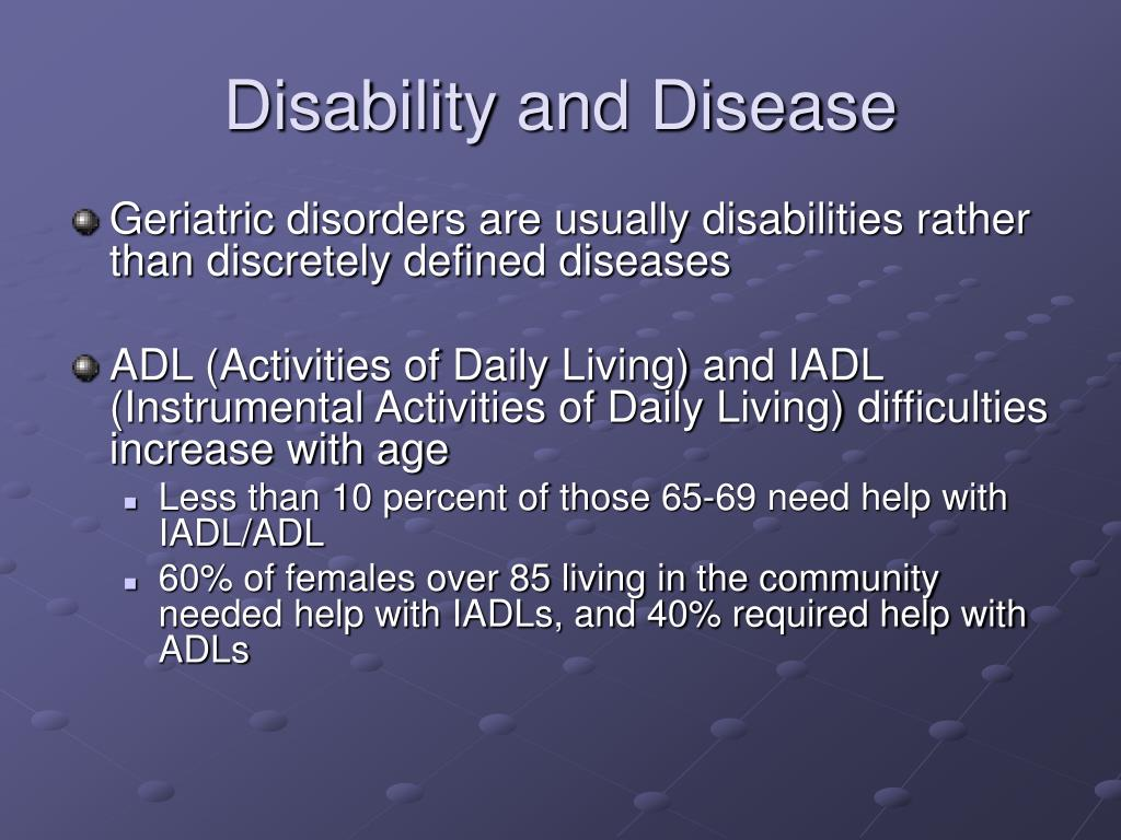 Disability and Disease