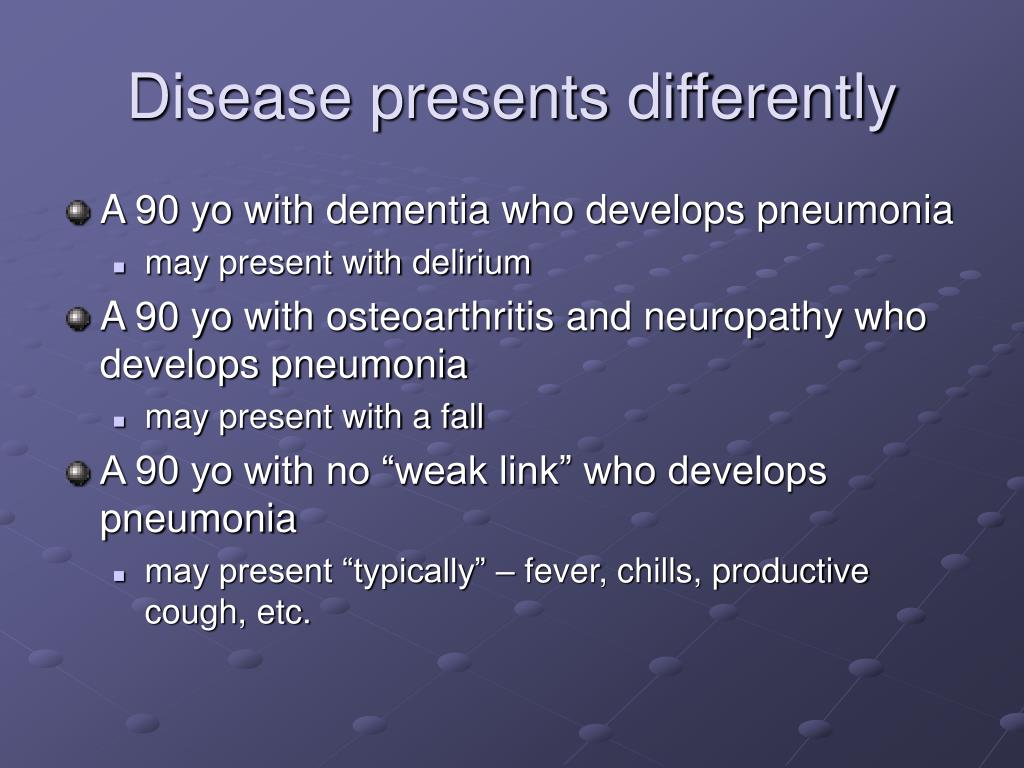 Disease presents differently