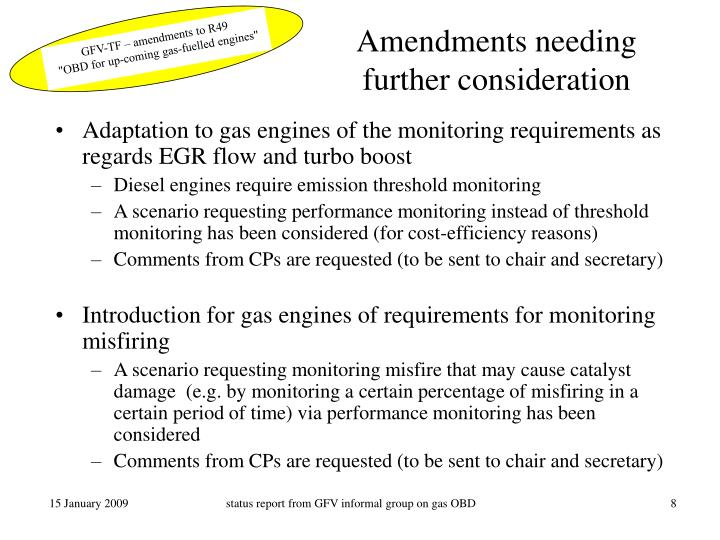 Amendments needing further consideration