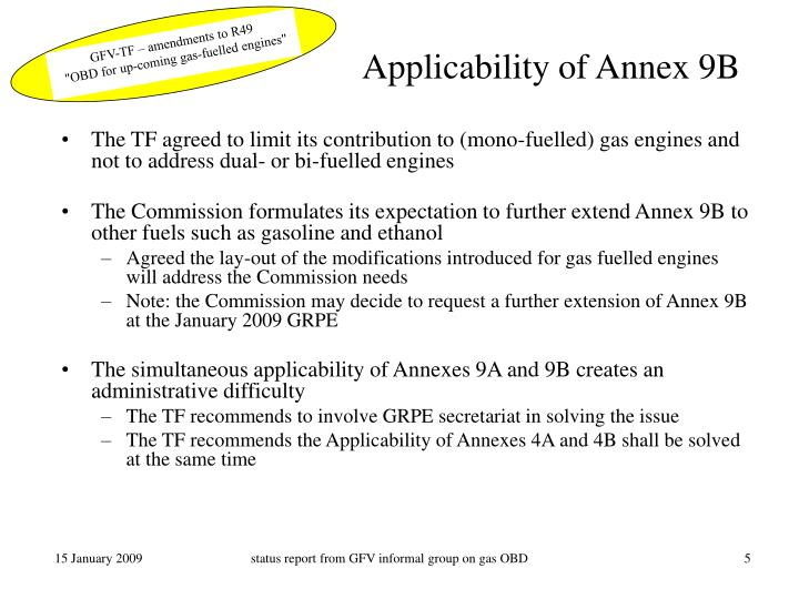 Applicability of Annex 9B