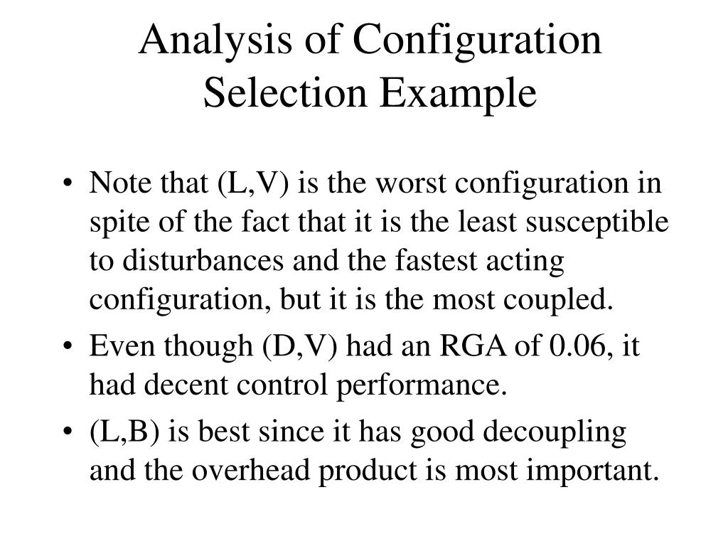 Analysis of Configuration Selection Example