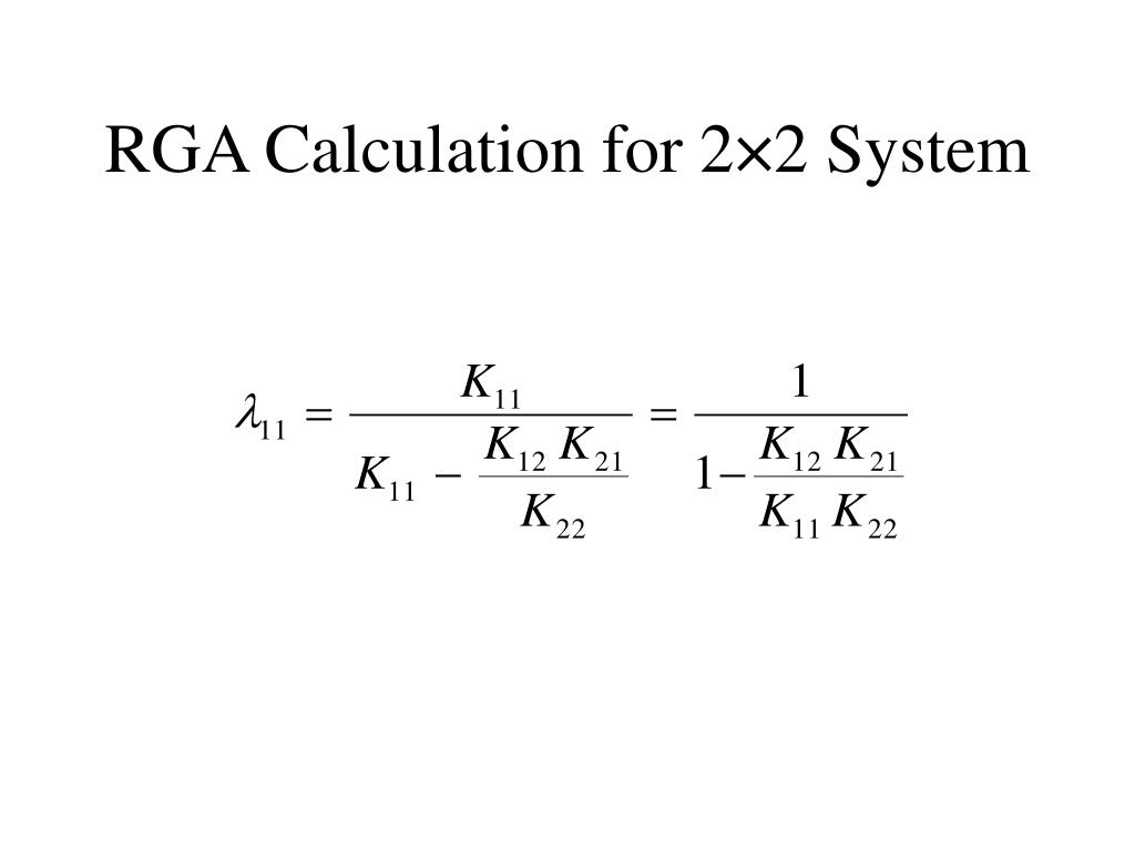 RGA Calculation for 2×2 System
