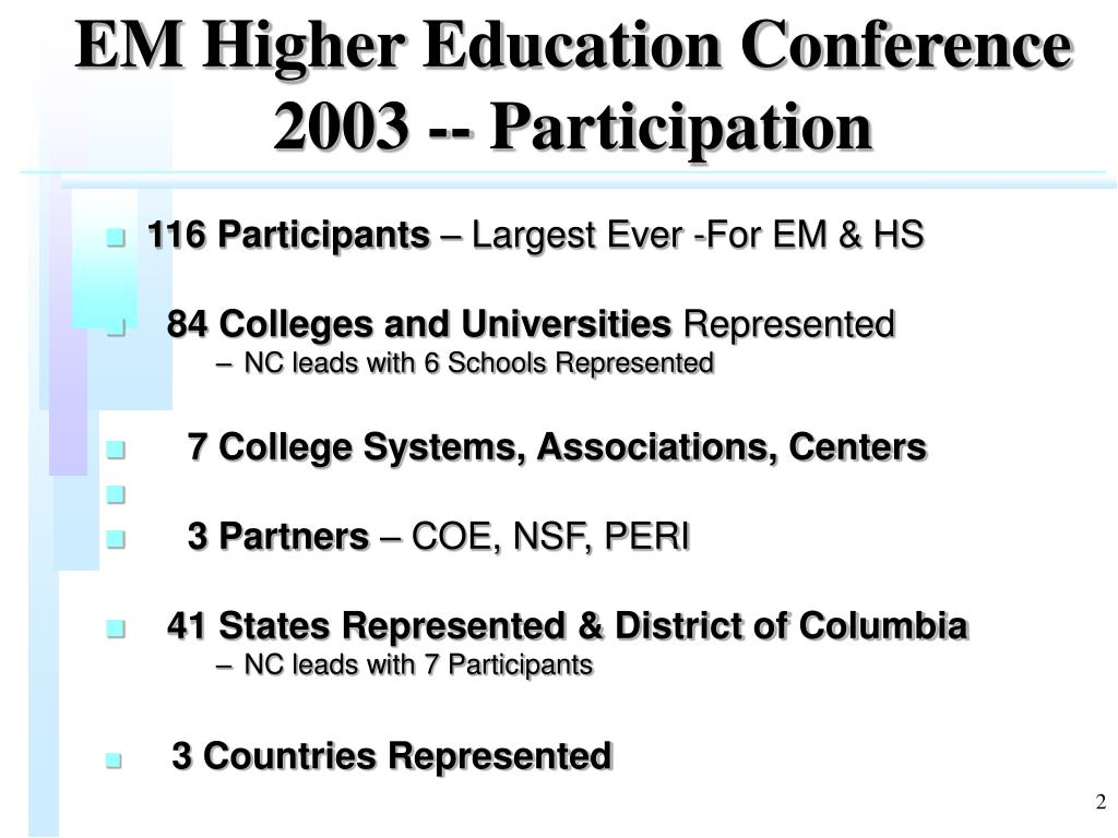 EM Higher Education Conference 2003 -- Participation
