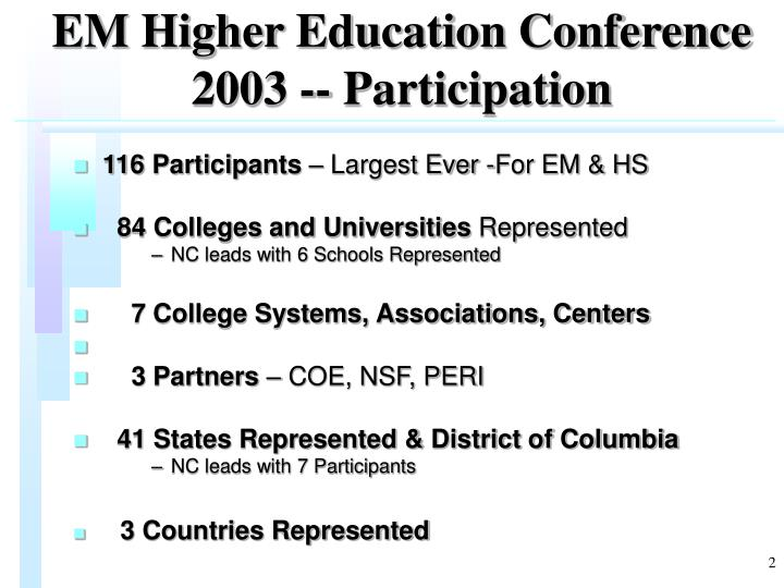 Em higher education conference 2003 participation