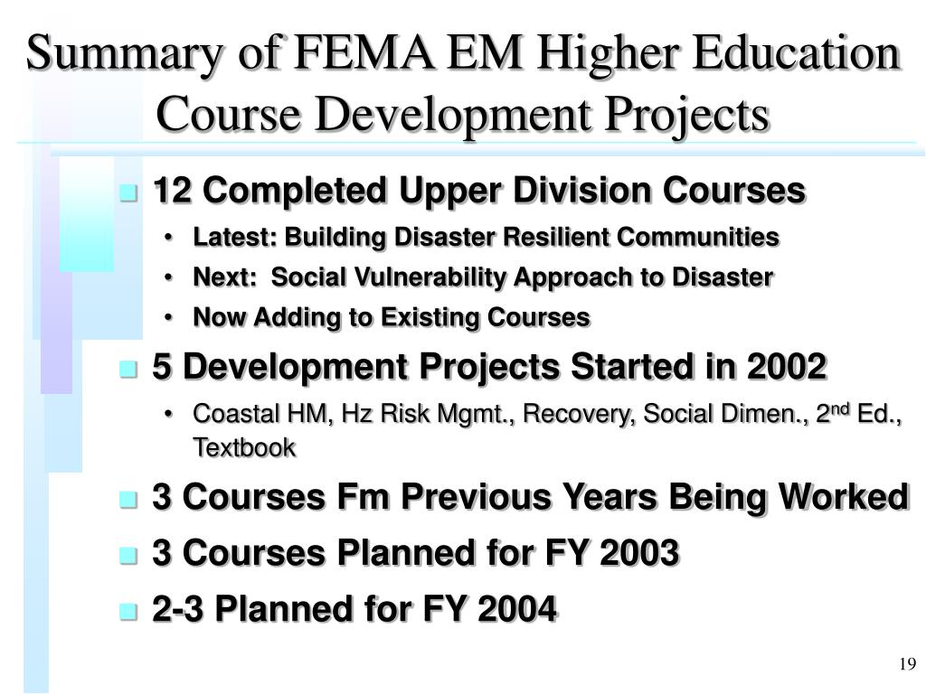 Summary of FEMA EM Higher Education Course Development Projects