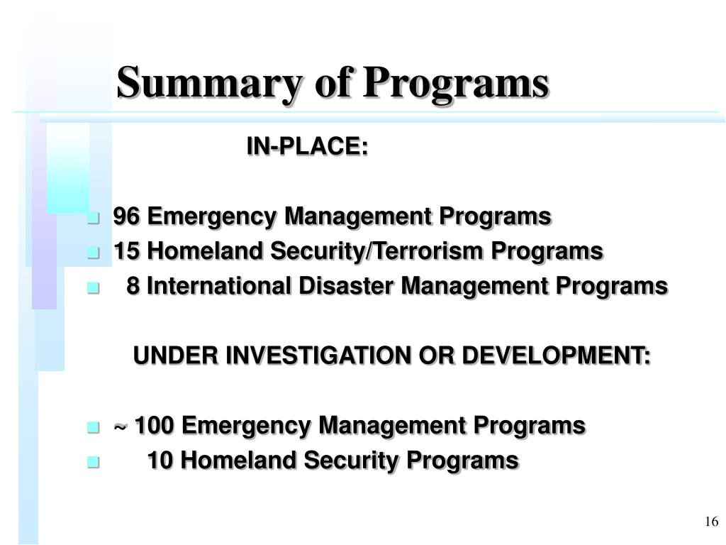 Summary of Programs