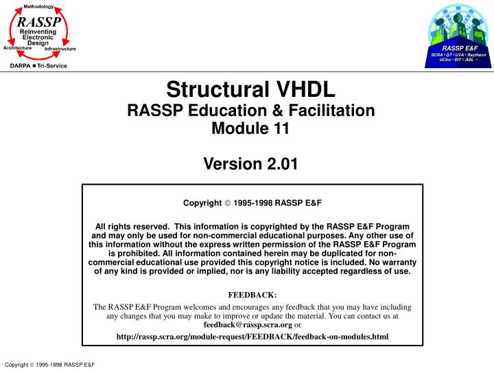 Structural vhdl rassp education facilitation module 11 version 2 01