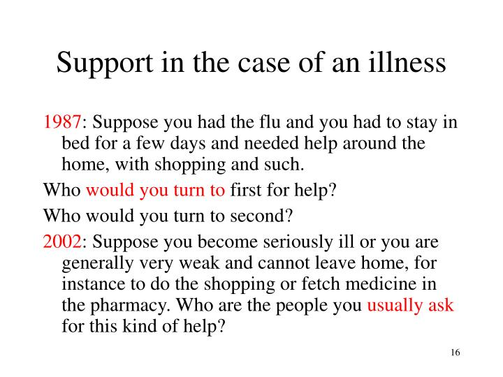 Support in the case of an illness