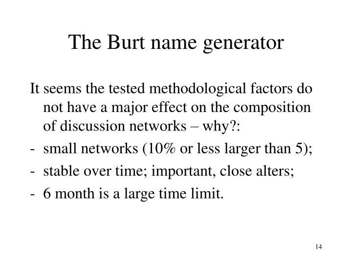 The Burt name generator