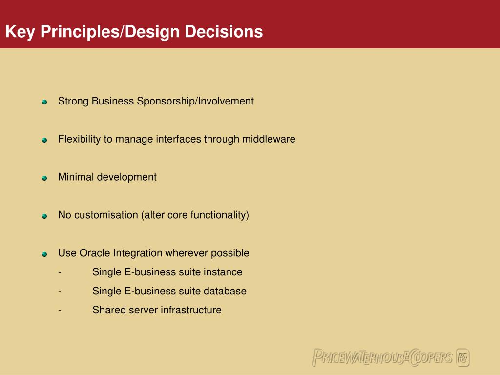 Key Principles/Design Decisions