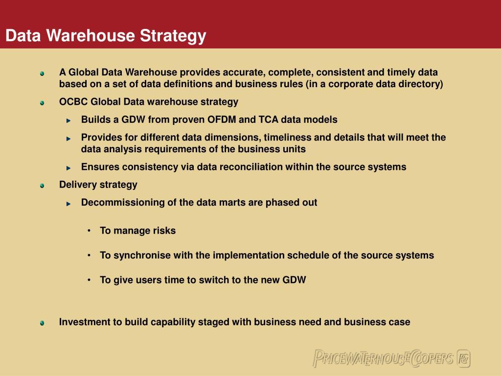 Data Warehouse Strategy