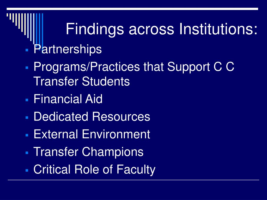 Findings across Institutions: