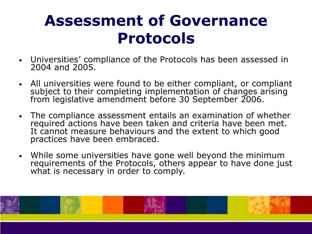 Assessment of Governance Protocols