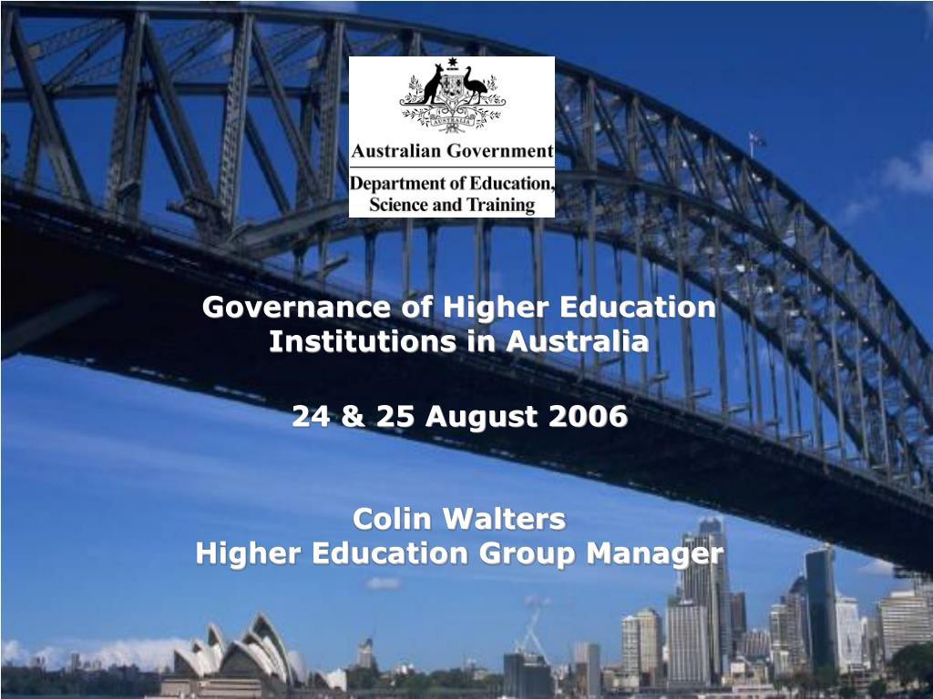 Governance of Higher Education Institutions in Australia